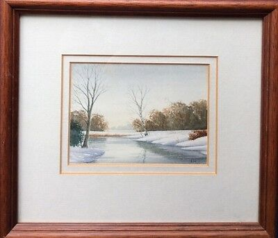 ALAN WHITEHEAD Miniature Watercolour Painting WINTER SNOWY RIVER SCENE