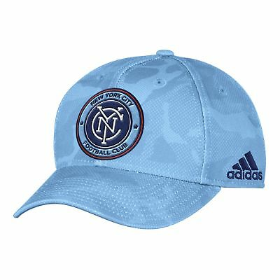 adidas Mens Gents Football New York City FC Stuctured Adjustable Cap Hat - Blue
