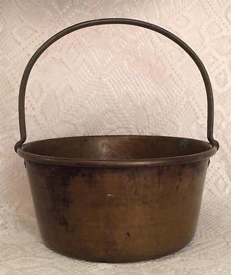 "Early - Strong Brass Bucket Kettle Pot Riveted Iron Handle - 14"" H - 13"" D"