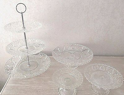 Classic Vintage Cream Tea Party Glass Cake Cupcake Display SIZES Stand Kitchen