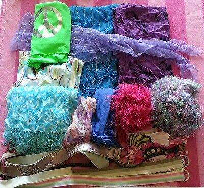 11 Girls Fashion Scarves, 4 belts Lot CUTE for everyday wear or dressup GUC