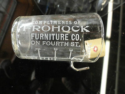 """Old """"Compliments Of Frohock Furniture"""" Shot Glass"""