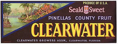 Crate Label Vintage Florida Clearwater Citrus Pinellas County Original Older 2