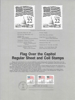 #8517 22c Flag Sheet and Coil Stamp - Scott #2114-2115 USPS Souvenir Page