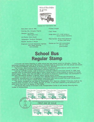 #8532 3.4c School Bus Coil Stamp - Scott #2123 USPS Souvenir Page