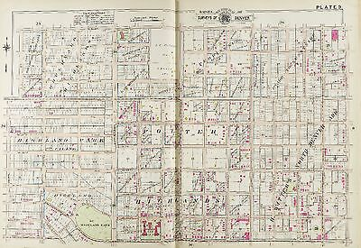 1905 Denver, Colorado, Highland Park, Oakes Home W 32Nd Av - W 41St Av Atlas Map