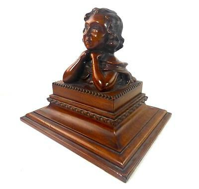 Antique Hand Carved Wood Bust Of A Child On Plinth Wooden Sculpture Art