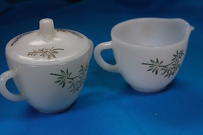 3pc Vintage Federal Cream and Sugar Bowls with Lid Glass Gold Bamboo Pattern