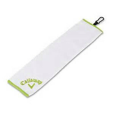 "NEW Callaway Golf Solaire Tri-Fold Towel White Lime Green 16"" x 21"""