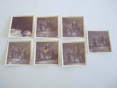 """Lot of 7 Johnny Cash Tennessee 3 3.5"""" x 3.5"""" Kodak Live Concert Photos From 1968"""
