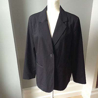 NEW ADDITIONS MATERNITY Womens L Black Blazer Career Suit Dress Coat Jacket EUC