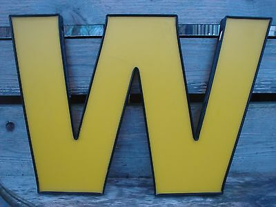 """11"""" Yellow Letter W Wall Art Industrial Home Garage Decor Marquee Letter Sign"""
