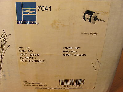 EMERSON 7041 CONDENSER FAN MOTOR. 1/2 HP, 825 Rpm, 208-230V, Reversible .NOS