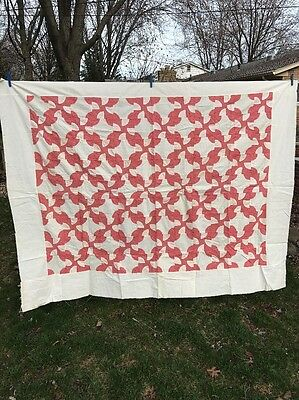 Vintage Drunkard's Path Quilt Top Unfinished Cotton