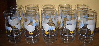 Vtg Set 10 Indiana Glass 16 Oz Coolers Country Goose Duck Deco Glasses Drinking