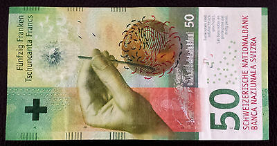 *1 Swiss Switzerland New Design Clean Circulated 50 Francs Banknote Paper Money*