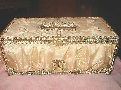 Vtg. Italian Tole Tissue Box Holder Ornate Gold metal With Creme Material