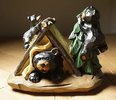 Black Bear Papa & Cubs Tent Camping Rustic Lodge Cabin Home Decor Figurine NEW