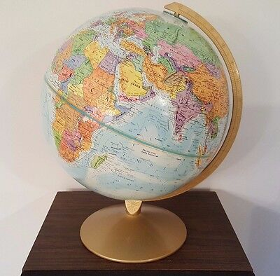 "Vintage 12"" Replogle World Nation Series Globe On Metal Stand Raised Relief"