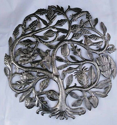 """Metal Tree of Life with Fruits and Birds Handmade Steel Oil Drum Home Art 24"""""""