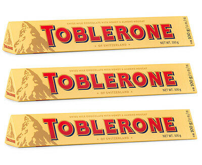 3 x Toblerone Milk Chocolate 100g
