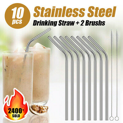 8x Stainless Steel Metal Drinking Straws Bent Reusable Washable + 2 Brush