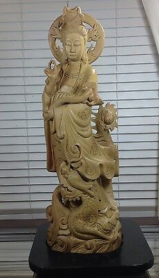 "Antique Wood Hand carved 1917's Guan Yin Goddess Buddha Statue w/ Base 26"" Tall"
