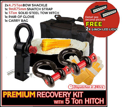 4x4 Recovery Kit 11T Snatch Strap 19mm Bow Shackles with 5Ton Tow Hitch Receiver