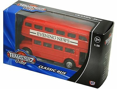 Teamsterz Classic Red Bus With Evening News Advertising Double Decker Bus NEW