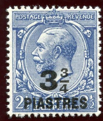 British Levant 1921 KGV 3¾pi on 2½d dull prussian blue superb MNH. SG 43a.