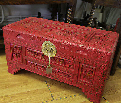Chinese small red painted chest