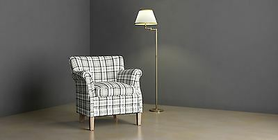 County Armchair Grey Check Fabric Accent Easy Chair Contemporary