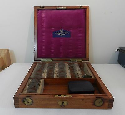 Antique / Vintage Opticians Test Lenses In Wooden Box George Spiller  Military?