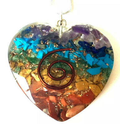 Reiki Energy Charged Chakra Orgone Crystal Heart Pendant & Silver Chain Necklace