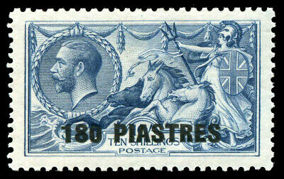 "British Levant 1921 ""Seahorses"" 180pi on 10s dull grey-blue MLH. SG 50. Sc 64."
