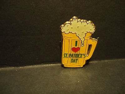 I Heart Love St Patricks Day Beer Mug  Lapel Hat Pin