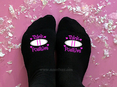 Think Positive Pregnancy Test IVF Motivational Fertility Lucky Socks Womens Baby