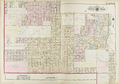 1905 DENVER COLORADO SLOAN/'S LAKE MANHATTAN BEACH W 20TH TO W 41ST AV ATLAS MAP
