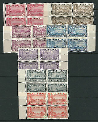 BAHAMAS 1948 KGVI definitives (Scott 132-47) fresh VF MNH margin blocks of 4