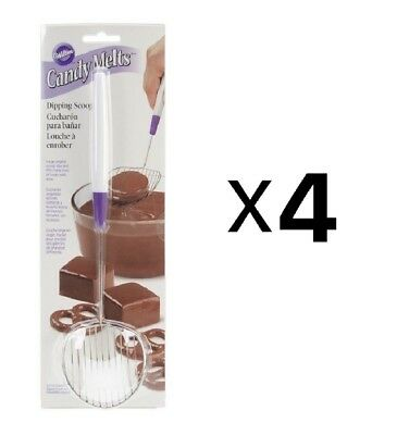 Wilton Candy Melts Treats Stainless Steel Chocolate Dipping Scoop Tool (4-Pack)