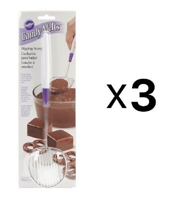 Wilton Candy Melts Treats Stainless Steel Chocolate Dipping Scoop Tool (3-Pack)