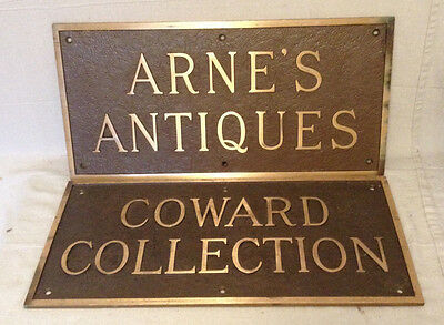 Vintage Pair Of Bronze Plaques From Arne Coward Oddities Collection Store Front