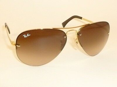 New RAY BAN Sunglasses  AVIATOR  Gold Frame  RB 3449 001/13  Gradient Brown 59mm
