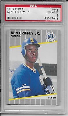 1989 Fleer #548 Ken Griffey Jr Rookie Rc  PSA 8 HOF 2016