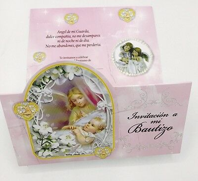 24 BAPTISM INVITATIONS Girl Angel spanishInvitaciones de bautizo