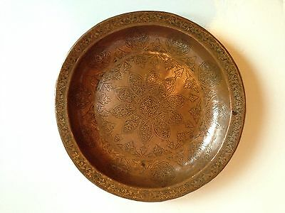 Antique Islamic Middle Eastern Persian Qajar Copper Tinned Shallow Bowl