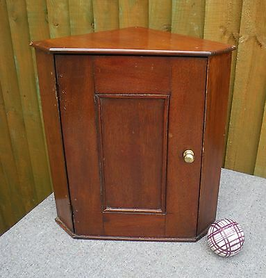 Antique Victorian Small Mahogany Country Style Hanging Corner Cupboard