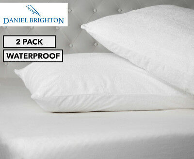 Sleepcare Cotton Terry Waterproof Pillow Protector Twin Pack - White