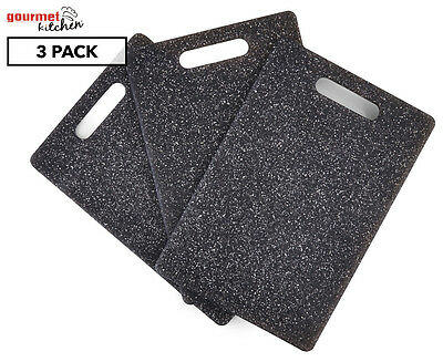 Gourmet Kitchen Granite Effect Cutting Board 3-Pack - Black