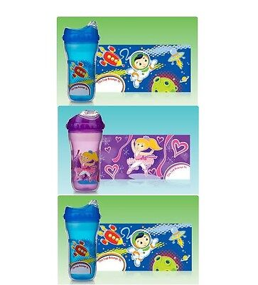 Lot set of 3 Nuby Insulated Cool Sipper Soft Spout Sippy Cup 9oz